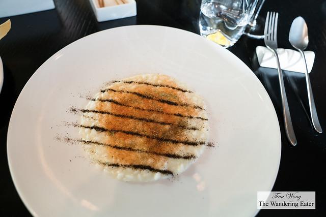 Risotto in pizzaiola style and mozzarella water (winner as Best Risotto of the year for Le Guide de l'Espresso 2017)