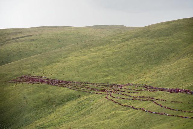Hundreds of nuns on a retreat ceremony, Tibet 2018