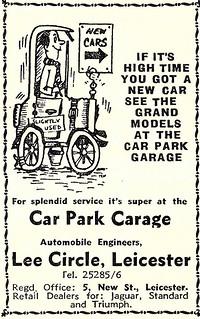1963 ADVERT - CAR PARK GARAGE - JAGUAR /  STANDARD / TRIUMPH DEALERS LEE CIRCLE LEICESTER