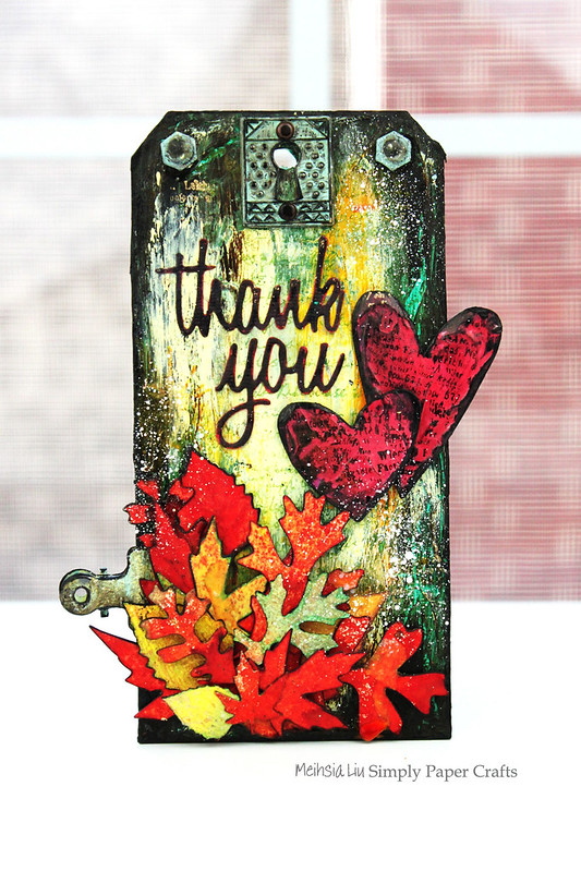 Meihsia Liu Simply Paper Crafts Mixed Media Tag Thank You Fall Thanksgiving Simon Says Stamp Tim Holtz 1