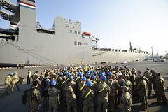 Soldiers assigned to U.S. Army Pacific receive a safety brief at the pier prior to the offload of M/V Cape Hudson (T-AKR 5066), Jan. 27. (U.S. Navy/Lt. Cmdr. John D. MacTaggart)