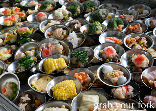 Thai dumpling plates for breakfast at Super Dim Sum in Phuket Thailand