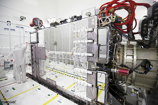 Team members prepare for an optics test on the Advanced Baseline Imager, the primary optical instrument, on the Geostationary Operational Environmental Satellite (GOES-R) inside the Astrotech payload processing facility in Titusville, Florida near NA