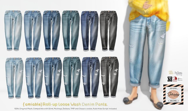 "{amiable}""SATURDAY SALE""Roll-up Loose Denim Pants@the main store."