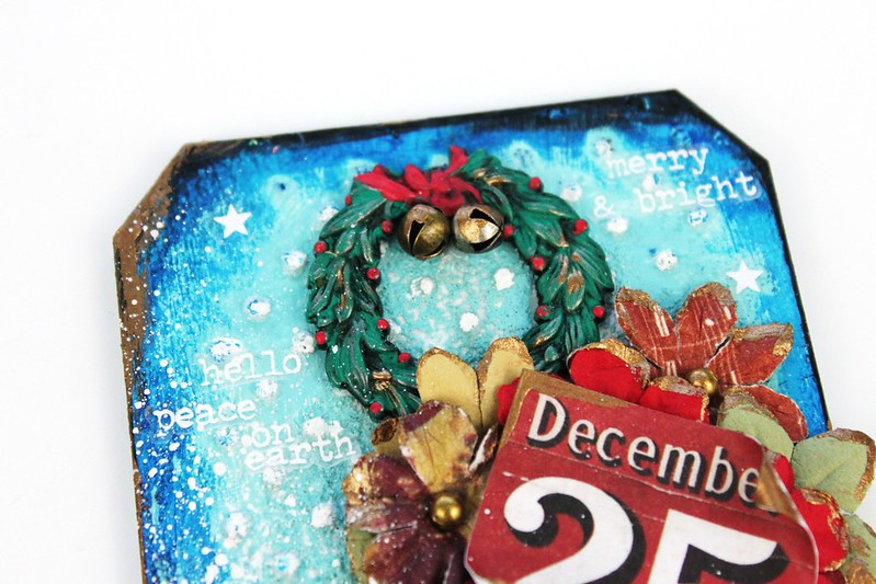 Meihsia Liu Simply Paper Crafts Mixed Media Christmas Tag Let It Snow Simon Says Stamp Tim Holtz 2