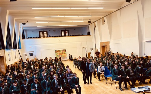 Zahava Kohn and Hephzibah Rudofsky with pupils at Pinner High School. November 2018 | by Surviving The Holocaust