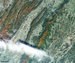 """View of the heart of Shenandoah National Park on October 10, 2010, at the height of the fall """"leaf-peeping"""" season. Original from NASA. Digitally enhanced by rawpixel."""