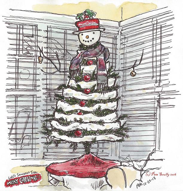 snowman xmas tree 2018