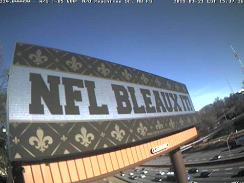 Billboard protesting missed call that led to the Los Angeles Rams going to the Super Bowl put up in Atlanta