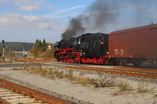 2018-10-20; 0103. IGE Werrabahn 41 1144-9 met DLr 403. Walldorf. Plandampf im Werratal, Dampffinale.