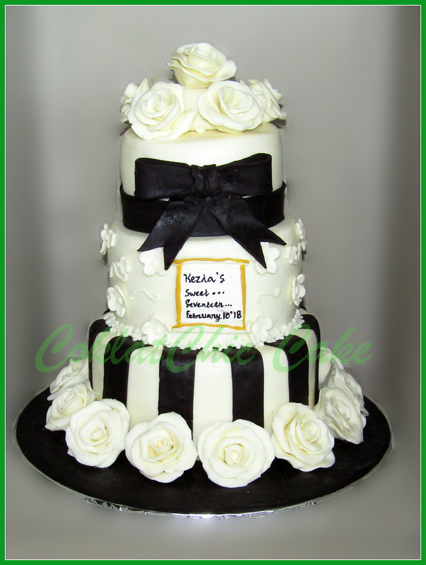Cake sweet sevententh black & white Roses 18/5/12