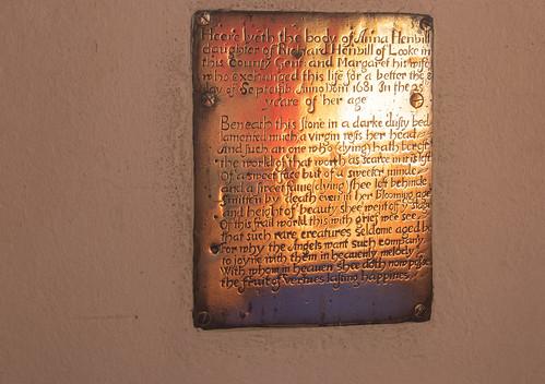 Anna Henvill brass of 1681, Litton Cheney