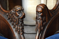 return stalls: a bearded lion and a bearded man (15th Century)
