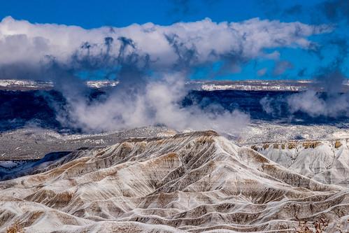 snow mountain hill clouds landscape