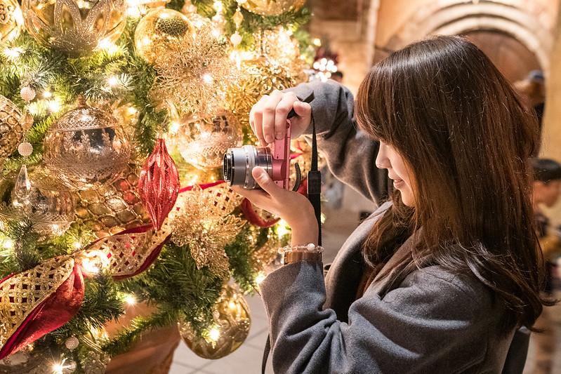 ディズニーシーのクリスマスツリーを撮影する女性