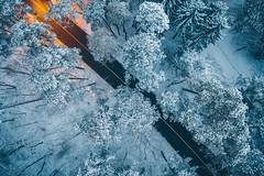 Snowy road | Kaunas aerial