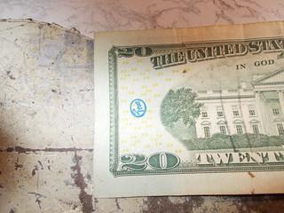 Chop mark on US $20 bill