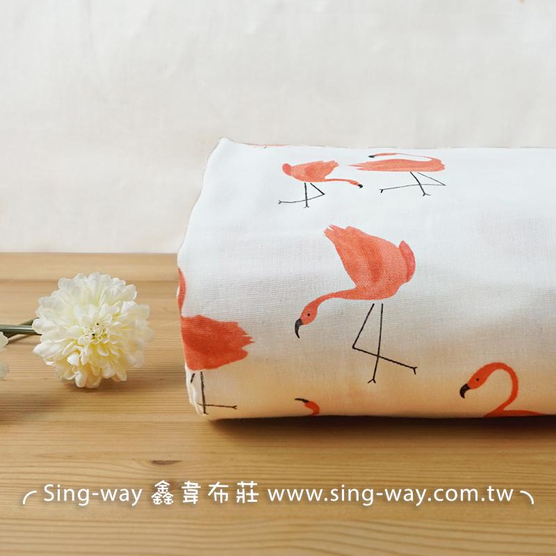 紅鶴 火鶴 火烈鳥 動物  flamingo 三層紗 嬰兒紗布衣 手帕 口水巾 布料 三重紗 CA890043