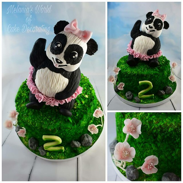 Panda Birthday Cake by Melania's World of Cake Decorating
