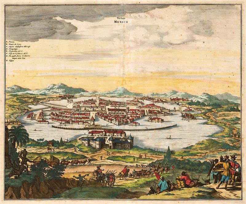 John Ogilby - Vetus Mexico (Ancient Mexico City & Lake Texcoco) (1671)