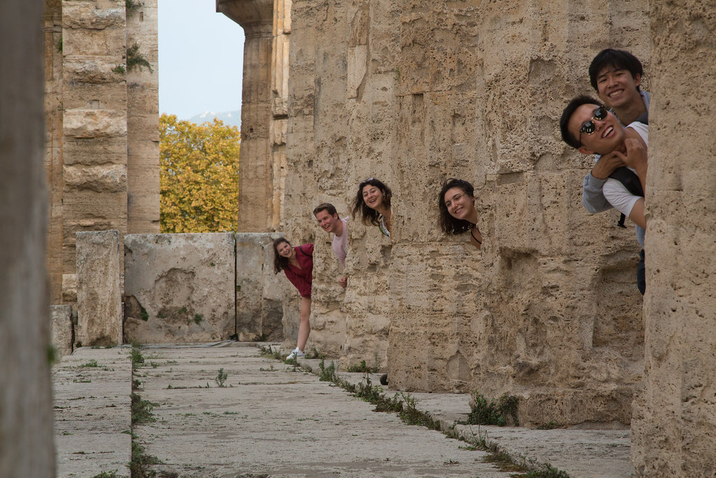 Cornell in Rome students pose at the Temple of Athena in Paestum, Southern Italy.   photo / Sahir Choudhary (B.Arch. '21)