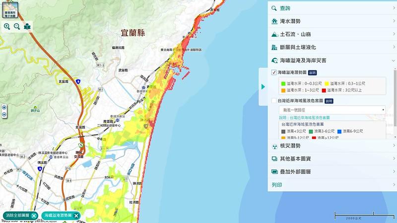 國家災害防救科技中心的海嘯災害潛勢圖。