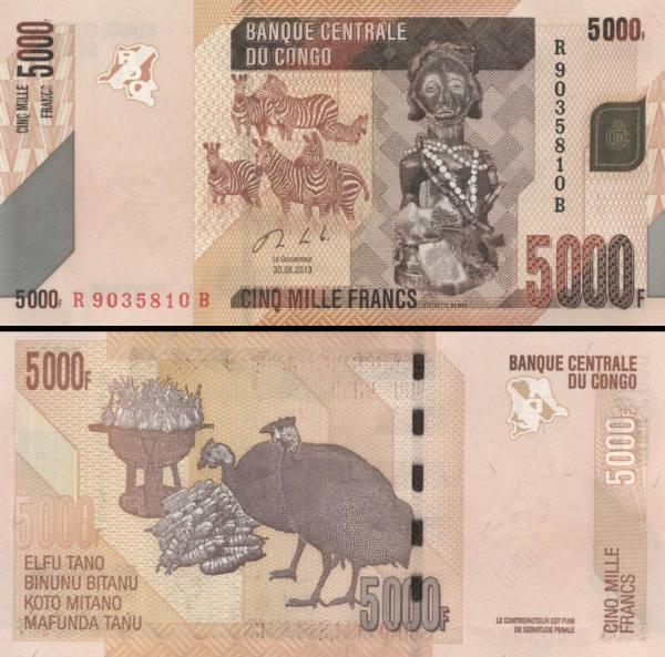 5000 Frankov Kongo Dem.Rep. 2013, P102b