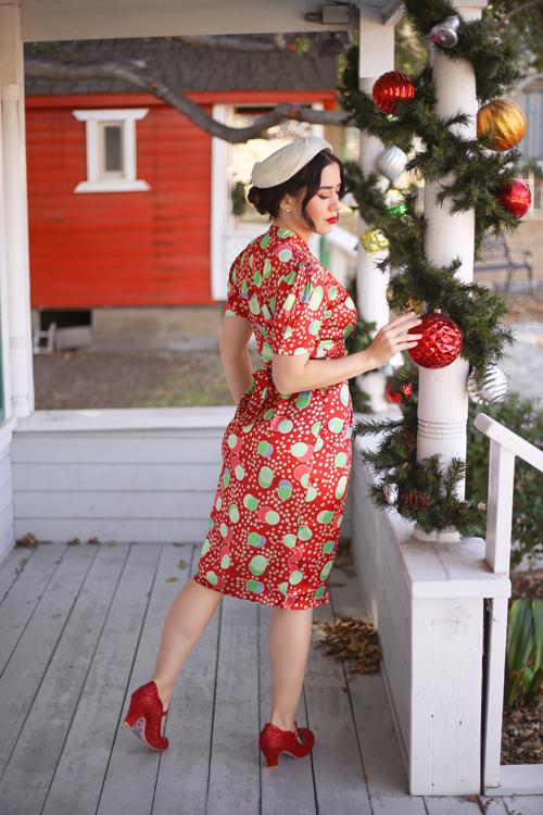Seamstress of Bloomsbury Mabel Dress in Atomic Print Satin