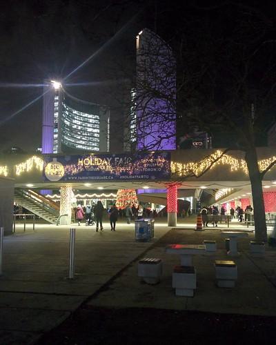 Into Nathan Phillips Square #toronto #torontocityhall #nathanphilipssquare #night #christmas #christmaseve #latergram