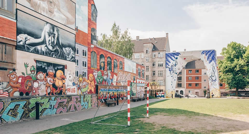 Onbekende bezienswaardigheden Kopenhagen, Street art Nørrebro, BaNanna Park | Mooistestedentrips.nl