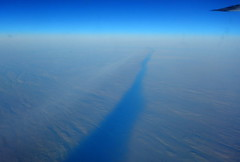 Polar contrail's dark shadow from above