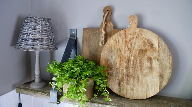 Houten snijplanken lampje plant
