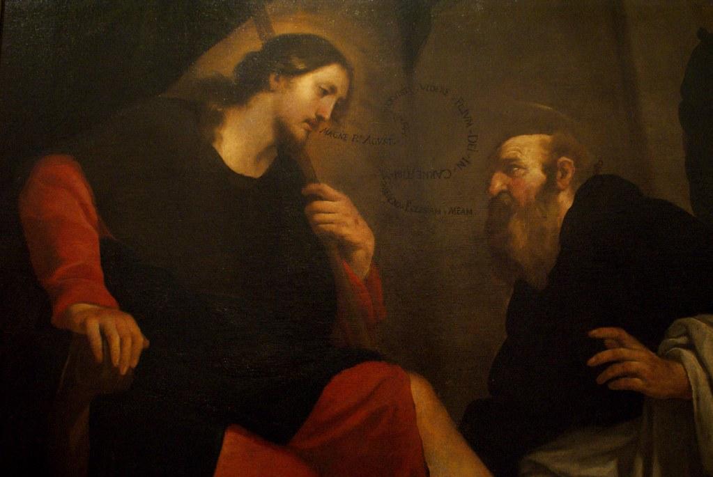 """Sant Agostino lava i piedi a cristo in sembiante di pellegrino"""" par l'artiste Orazio de Ferrari (1606-1657). Musée des Beaux Art de Gènes."""