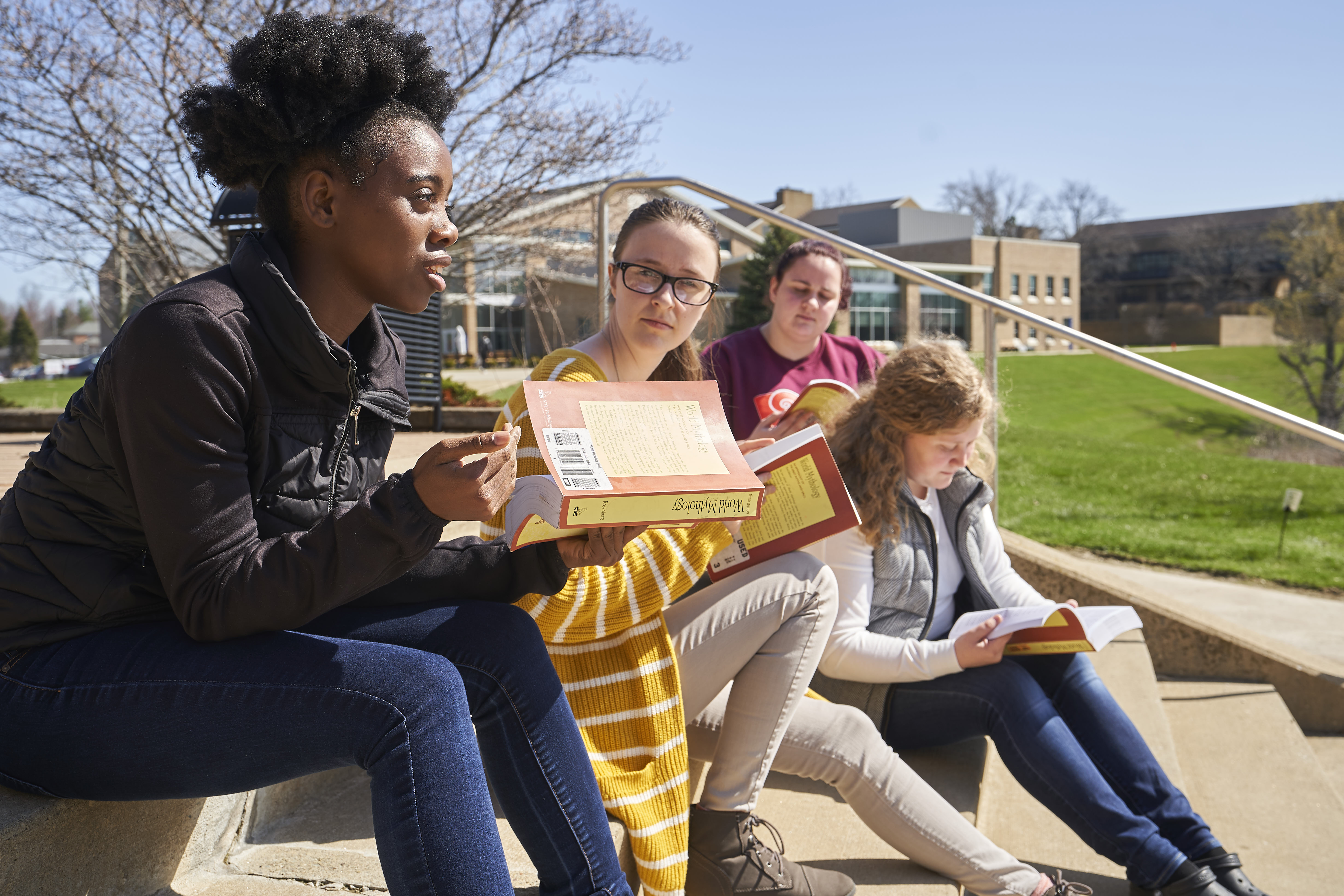 Students Studying on Pilla Steps