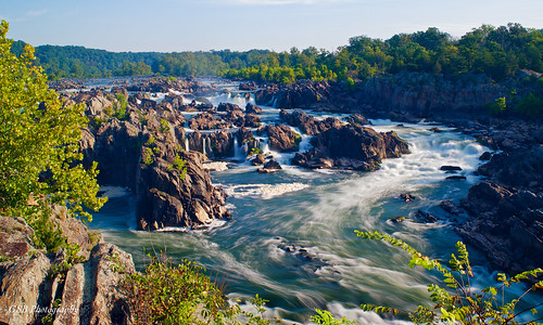 greatfalls potomacriver america usa river waterfall chute rapids sunlight water rush rocks trees foliage sky clouds flow vista overlook nikon d5300 virginia longexposure elitegalleryaoi bestcapturesaoi