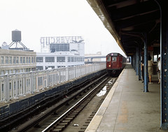 New York subway train arrives at a station in Brooklyn. Original image from Carol M. Highsmith's America, Library of Congress collection. Digitally enhanced by rawpixel.