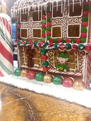 Elf and reindeer on the Gingerbread house