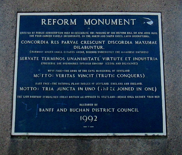 Reform Monument, Peterhead, Plaque