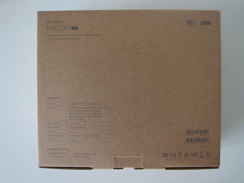 Synology Mesh Router MR2200ac - Box Back