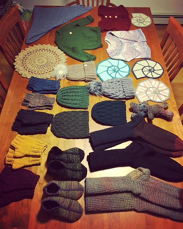 Handknit gifts thus far. Time to get wrapping. 🎁🎁🎁🎁🎁🎁🎁🎁🎁🎁🎁🎁🎁🎁🎁🎁🎁🎁🎁 #knitting
