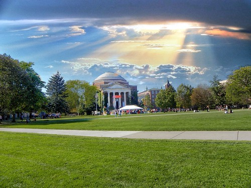 greek revival style columns syracuse ny newyork state francishendricks chapel church universityofsyracuse university onasill nrhp register historic building tour walking blue sky outdoor architecture green lawn common park sunset clouds