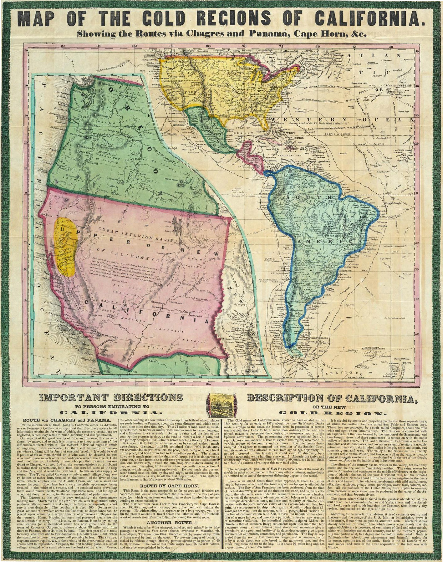 Map of the Gold Regions of California, circa 1850