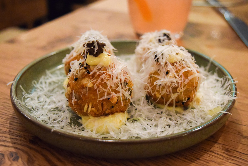 Parsnip and Pecorino Croquettes with Smoked Garlic Aioli and Pickled Walnuts at Rovi, Fitzrovia