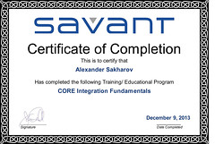 Alexander Sakharov - CORE Integration Fundamentals - Completion Certificate