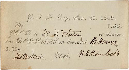 1849 Mormon Valley Note $2
