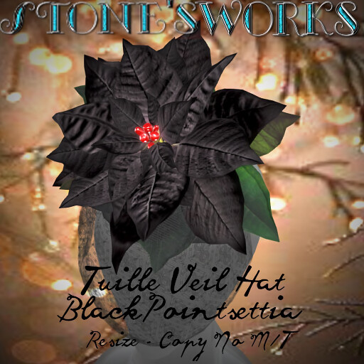 Tuille Veil Hat Black Poinsettia Stone's Works