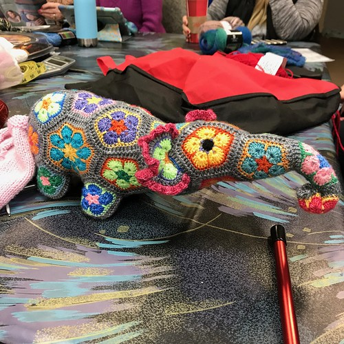 Carola's sister first spun and then dyed the yarn she used to crochet Heidi Bears' Nellie the Elephant African Flower! Truly a work of art!!