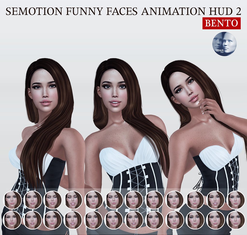 SEmotion Funny Faces Animation HUD 2 Gacha for Genus heads @ GachaLand - TeleportHub.com Live!