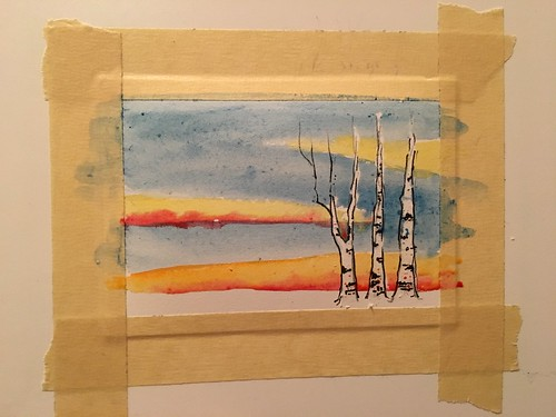 Watercolor Winter Birch