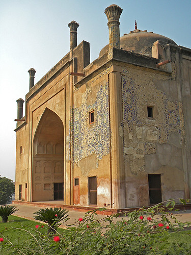 The exterior of the Chini Ka Rauza, another architectural masterpiece, a mausoleum containing the tomb of a nobleman. This translates as 'Chinese Mud' and means 'Chinese Tiles' referring to the exquisite blue and green tile work on the exterior.